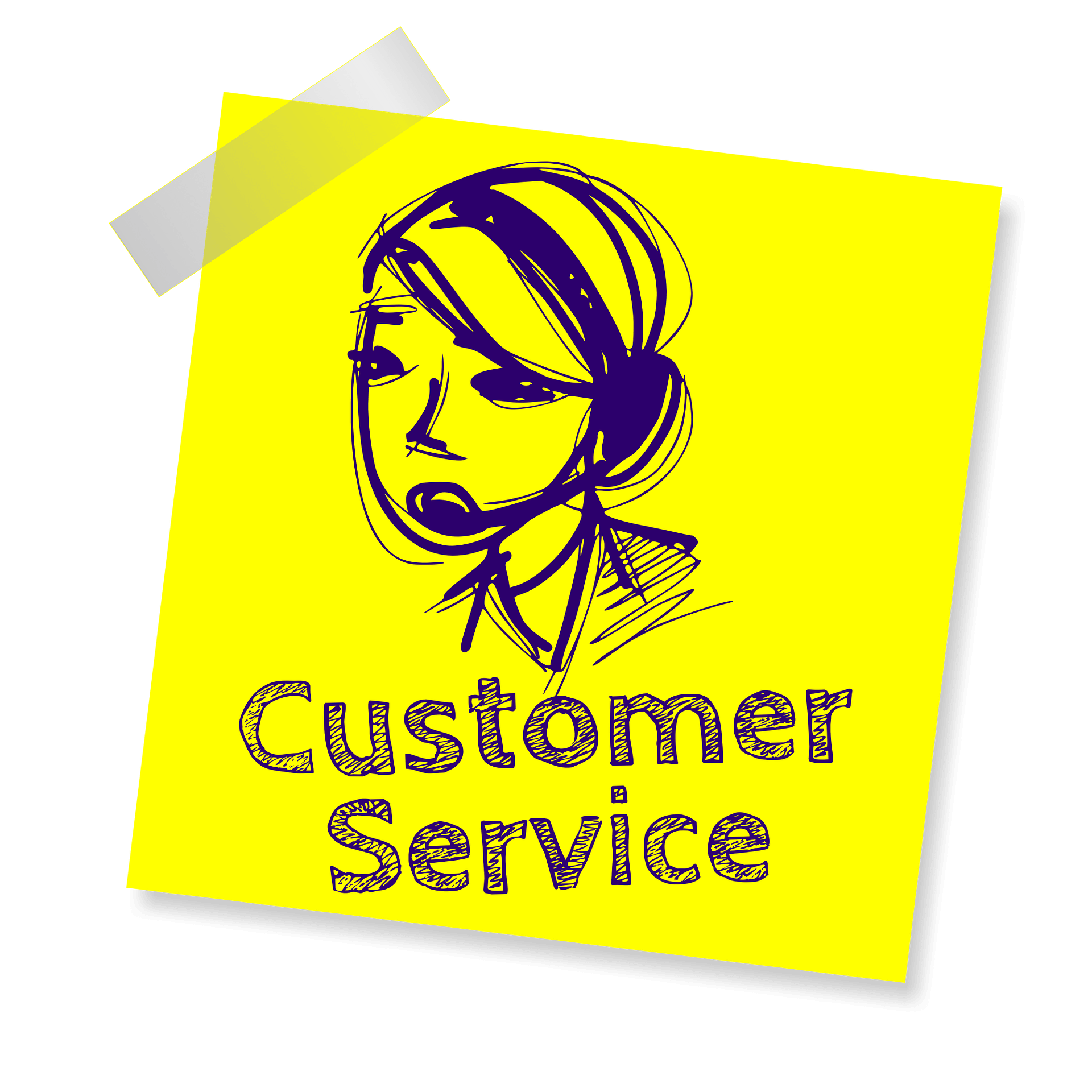 customer service icon on sticky note