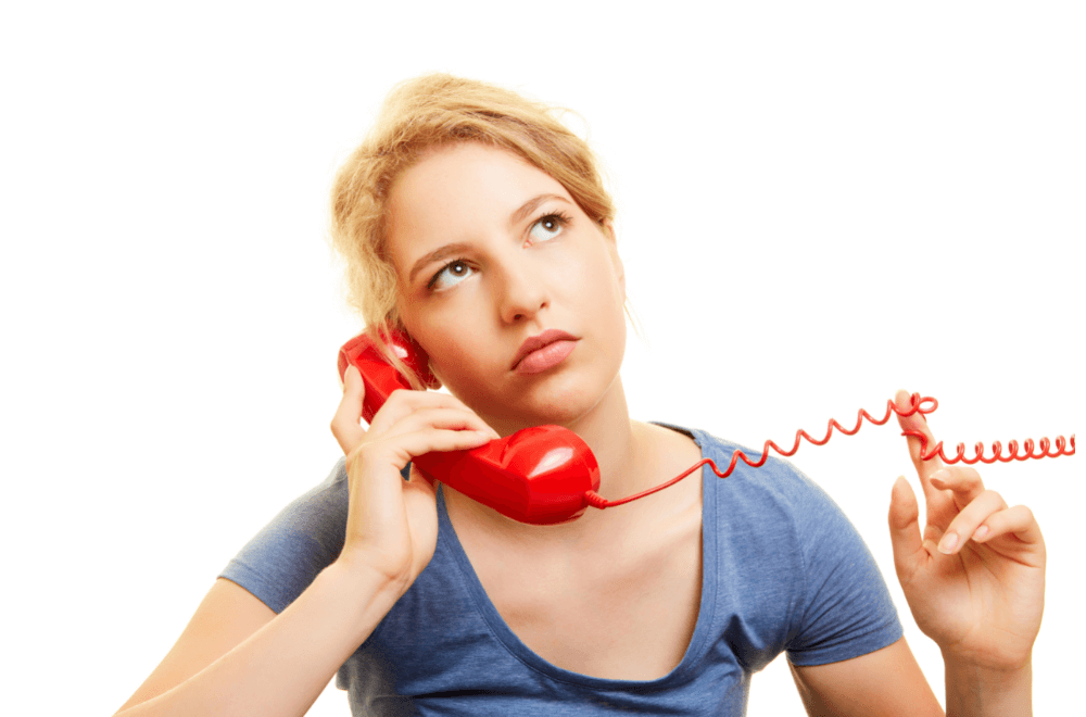 frustrated woman on hold